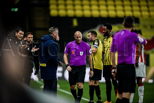 4th November 2020; Vicarage Road, Watford, Hertfordshire, England; English Football League Championship Football, Watford versus Stoke City; An argument develops as to whether Tom Cleverleys goal for Watford crossed the line in the 28th minute for 1-1
