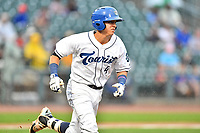 Southern Division shortstop Jose Gomez (4) of the Asheville Tourists runs to first base during the South Atlantic League All Star Game at Spirit Communications Park on June 20, 2017 in Columbia, South Carolina. The game ended in a tie 3-3 after seven innings. (Tony Farlow/Four Seam Images)