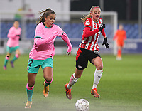 Lieke Martens (22 Barcelona) and Julie Biesmans (20 PSV) in action during a female soccer game between PSV Eindhoven Vrouwen and Barcelona, in the round of 32, 1st leg of Uefa Womens Champions League of the 2020 - 2021 season , Wednesday 9th of December 2020  in , Eindhoven, the Netherlands. PHOTO SPORTPIX.BE | SPP | SEVIL OKTEM