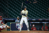 Austin Martin (16) of the Vanderbilt Commodores at bat against the Houston Cougars during game nine of the 2018 Shriners Hospitals for Children College Classic at Minute Maid Park on March 3, 2018 in Houston, Texas. The Commodores defeated the Cougars 9-4. (Brian Westerholt/Four Seam Images)