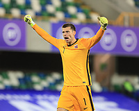 7th September 2020; Windsor Park, Belfast, County Antrim, Northern Ireland; EUFA Nations League, Group B, Northern Ireland versus Norway; Rune Jarstein of Norway celebrates his teams 4th goal from Sorloth in the 47th minute