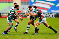 28th March 2021; Mattoli Woods Welford Road Stadium, Leicester, Midlands, England; Premiership Rugby, Leicester Tigers versus Newcastle Falcons; Luther Burrell of Newcastle Falcons is stopped by Kini Murimurivalu and Dan Kelly of Leicester Tigers