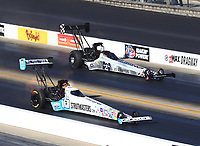 Oct 14, 2019; Concord, NC, USA; NHRA top fuel driver Justin Ashley (near) defeats Mike Salinas for the first round win of his professional career during the Carolina Nationals at zMax Dragway. Mandatory Credit: Mark J. Rebilas-USA TODAY Sports