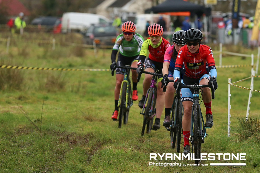 EVENT:<br /> Round 5 of the 2019 Munster CX League<br /> Drombane Cross<br /> Sunday 1st December 2019,<br /> Drombane, Co Tipperary<br /> <br /> CAPTION:<br /> Nessa Rochford of De Ronde Van Cork CC leads the way against Lucy O'Donnell of Verge Sport PI Cycles, Agnieszka Wozniak of STRATA3/Velo Revolution Racing Team and Grace Young of STRATA3/Velo Revolution Racing Team during the women's Race<br /> <br /> Photo By: Michael P Ryan