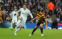 Pictured: (L-R) Michu, Carl McHugh. Sunday 24 February 2013<br /> Re: Capital One Cup football final, Swansea v Bradford at the Wembley Stadium in London.