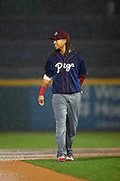 Lehigh Valley IronPigs second baseman Emmanuel Burriss (9) walks off the field for a rain delay during a game against the Buffalo Bisons on July 9, 2016 at Coca-Cola Field in Buffalo, New York.  Lehigh Valley defeated Buffalo 9-1 in a rain shortened game.  (Mike Janes/Four Seam Images)