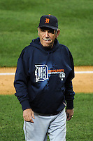 Detroit Tigers manager Jim Leyland #10 during ALDS game #5 against the New York Yankees at Yankee Stadium on October 06, 2011 in Bronx, NY.  Detroit defeated New York 3-2 to take the series 3 games to 2 games.  Tomasso DeRosa/Four Seam Images