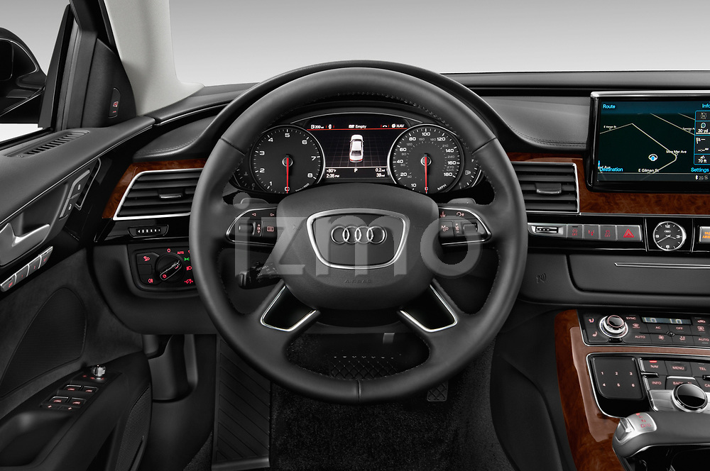 Car pictures of steering wheel view of a 2017 Audi A8 3.0T LWB quattro tiptronic 4 Door Sedan