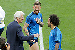 American actor Richard Gere with Real Madrid's players Sergio Ramos (c) and Marcelo Vieira (r) during Champions League 2015/2016 training session. May 27,2016. (ALTERPHOTOS/Acero)