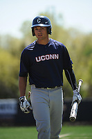 University of Connecticut infielder L.J. Mazzilli (24) during game against the Rutgers University Scarlet Knights at Bainton Field on May 3, 2013 in Piscataway, New Jersey. Connecticut defeated Rutgers 3-1.      . (Tomasso DeRosa/ Four Seam Images)