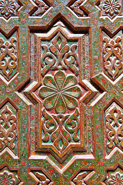 Geometric Berber Arabesque carved wood oor panels from Kasbah Telouet, Atla Mountains Morocco