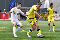 George Ott of the Wellington Phoenix competes for the ball with Sean Bright of Eastern Suburbs during the ISPS Handa Men's Premiership - Wellington Phoenix v Eastern Suburbs at Fraser Park, Wellington on Saturday 28 November 2020.<br /> Copyright photo: Masanori Udagawa /  www.photosport.nz