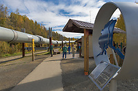 Tourists view the Trans Alaska Oil Pipeline, Fairbanks, Alaska