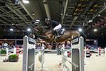 Gerco Schroder on Glock's Zaranza competes during the Table A with Jump-off 145 - Airbus Trophy at the Longines Masters of Hong Kong on 20 February 2016 at the Asia World Expo in Hong Kong, China. Photo by Li Man Yuen / Power Sport Images