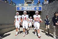 South Bend, IN - OCTOBER 4:  Quarterback Jason Forcier #4, quarterback Tavita Pritchard #14, quarterback Andrew Luck #12, and quarterback Alex Loukas #15 of the Stanford Cardinal during Stanford's 28-21 loss against the Notre Dame Fighting Irish on October 4, 2008 at Notre Dame Stadium in South Bend, Indiana.