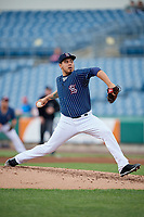 Syracuse Chiefs Cesar Vargas (31) delivers a pitch during a game against the Lehigh Valley IronPigs on May 20, 2018 at NBT Bank Stadium in Syracuse, New York.  Lehigh Valley defeated Syracuse 5-2.  (Mike Janes/Four Seam Images)