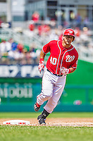 28 July 2013: Washington Nationals catcher Wilson Ramos rounds third after hitting a grand slam against the New York Mets at Nationals Park in Washington, DC. The Nationals defeated the Mets 14-1. Mandatory Credit: Ed Wolfstein Photo *** RAW (NEF) Image File Available ***