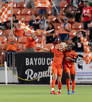 HOUSTON, TX - SEPTEMBER 10: Rachel Daly #3 of the Houston Dash celebrates her goal in the first half with Nichelle Prince #8 during a game between Chicago Red Stars and Houston Dash at BBVA Stadium on September 10, 2021 in Houston, Texas.