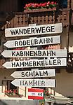 Oesterreich, Salzburger Land, Lungau, Mauterndorf: Hinweisschilder im Dorfzentrum | Austria, Salzburger Land, Lungau, Mauterndorf: sign post at village centre