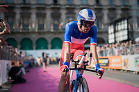 Thibaut Pinot (FRA/FDJ) finishing his TT and realising he lost his podium spot (3rd)<br /> <br /> stage 21: Monza - Milano (29km)<br /> 100th Giro d'Italia 2017