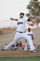 Collin Wiles (11) of the High Desert Mavericks pitches against the Lake Elsinore Storm at The Hanger on August 27, 2016 in Adelanto, California. Lake Elsinore defeated High Desert, 10-8. (Larry Goren/Four Seam Images)