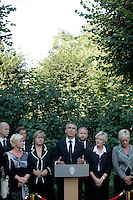 (Oslo July 27, 2011) Prime minister Jens Stoltenberg announces an independent inquiry into Friday's deadly attacks by Anders Behring Breivik, amid questions about the police response. <br /> The PM is flanked by the leaders of all parties incl. opposition Siv Jensen (Progress Party) and Erna Solberg (Conservative Party) - on the left side of the PM.<br /> <br /> A large vehicle bomb was detonated near the offices of Norwegian Prime Minister Jens Stoltenberg on 22 July 2011. .Another terrorist attack took place shortly afterwards, where a man killed 68 people, mainly children and youths attending a political camp at Utøya island. ..Anders Behring Breivik was arrested on the island and has admitted to carrying out both attacks..(photo:Fredrik Naumann/Felix Features)