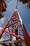 Construction worker inside the tower crane at Trimet's Portland-Milwaukie Light Rail Bridge project.