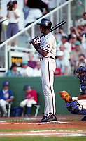 Birmingham Barons Michael Jordan (45) bats during a 1994 Southern League game against the Orlando Cubs at Tinker Field in Orlando, Florida.  (Tyler Bolden/Four Seam Images)