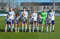 team Anderlecht ( Tine De Caigny (6) of Anderlecht , Britt Vanhamel (4) of Anderlecht , Tessa Wullaert (27) of Anderlecht , goalkeeper Justien Odeurs (13) of Anderlecht , Laura De Neve (8) of Anderlecht and Mariam Abdulai Toloba (19) of Anderlecht , Kassandra Missipo (12) of Anderlecht , Sarah Wijnants (11) of Anderlecht , Charlotte Tison (20) of Anderlecht , Laura Deloose (14) of Anderlecht , Stefania Vatafu (10) of Anderlecht ) pictured before a female soccer game between  AA Gent Ladies and RSC Anderlecht on the 17th matchday of the 2020 - 2021 season of Belgian Scooore Womens Super League , saturday 20 th of March 2021 in Oostakker , Belgium . PHOTO SPORTPIX.BE | SPP | STIJN AUDOOREN