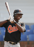 August 1, 2009: Infielder Corey Thomas (3) of the Bluefield Orioles, rookie Appalachian League affiliate of the Baltimore Orioles in a game at Howard Johnson Field in Johnson City, Tenn. Photo by: Tom Priddy/Four Seam Images