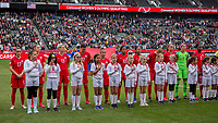 CARSON, CA - FEBRUARY 9: Canada starting eleven during a game between Canada and USWNT at Dignity Health Sports Park on February 9, 2020 in Carson, California.