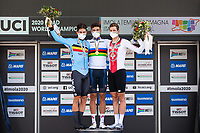 Picture by Alex Whitehead/SWpix.com - 25/09/2020 - Cycling - UCI 2020 Road World Championships IMOLA - EMILIA-ROMAGNA ITALY - Individual Time Trial Men Elite - Wout Van Aert of Belgium, Filippo Ganna of Italy and Stefan Kung of Switzerland on the podium after the Men's Elite Individual Time Trial. - TISSOT - SHIMANO - MAPEI - SANTINI