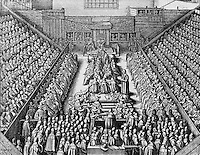 Depiction of the Parliament of London's Session of the Sentence of the Earl of Stafford Wenceslaus Hollar (1607-1677 Czech) Etching