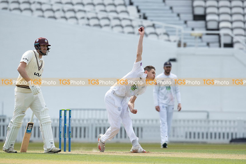 Scott Currie, Hampshire CCC bowls as Jamie Overton backs up during Surrey CCC vs Hampshire CCC, LV Insurance County Championship Group 2 Cricket at the Kia Oval on 1st May 2021