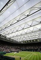6th July 2021, Wimbledon, SW London, England; 2021 Wimbledon Championships  day 8;  Wimbledon Championships with the centre court roof closed