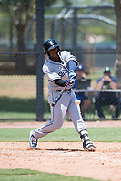 AZL Padres 2 first baseman Jason Pineda (39) swings at a pitch during an Arizona League game against the AZL Dodgers at Camelback Ranch on July 4, 2018 in Glendale, Arizona. The AZL Dodgers defeated the AZL Padres 2 9-8. (Zachary Lucy/Four Seam Images)
