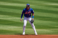 New York Mets second baseman Jeff McNeil (6) during a Major League Spring Training game against the St. Louis Cardinals on March 19, 2021 at Clover Park in St. Lucie, Florida.  (Mike Janes/Four Seam Images)