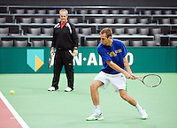 05-02-11, Tennis, Netherlands, Rotterdam, ABNAMROWTT 2011, Thiemo de Bakker in de training met zijn trainer Huib Troost