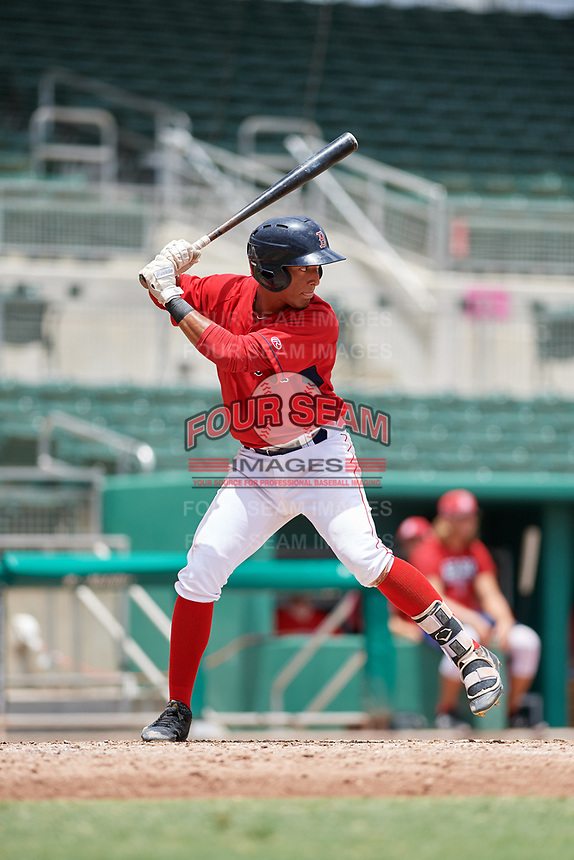 GCL Red Sox shortstop Ivan Houellemont (56) at bat during a game against the GCL Orioles on August 9, 2018 at JetBlue Park in Fort Myers, Florida.  GCL Red Sox defeated GCL Orioles 10-4.  (Mike Janes/Four Seam Images)