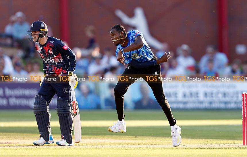 Jofra Archer bowls for Sussex during Kent Spitfires vs Sussex Sharks, Vitality Blast T20 Cricket at The Spitfire Ground on 18th July 2021