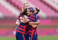 KASHIMA, JAPAN - AUGUST 5: Carli Lloyd #10 of the USWNT celebrates her goal with teammates during a game between Australia and USWNT at Kashima Soccer Stadium on August 5, 2021 in Kashima, Japan.