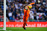 Goalkeeper Jordi Masip Lopez of Real Valladolid saves the ball during the La Liga 2018-19 match between Real Madrid and Real Valladolid at Estadio Santiago Bernabeu on November 03 2018 in Madrid, Spain. Photo by Diego Souto / Power Sport Images