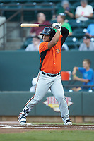 Wilson Garcia (50) of the Frederick Keys at bat against the Winston-Salem Dash at BB&T Ballpark on July 26, 2018 in Winston-Salem, North Carolina. The Keys defeated the Dash 6-1. (Brian Westerholt/Four Seam Images)