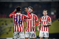 4th November 2020; Vicarage Road, Watford, Hertfordshire, England; English Football League Championship Football, Watford versus Stoke City; Nick Powell celebrates as he scores the equaliser for Stoke City for 2-2 in the 81st minute