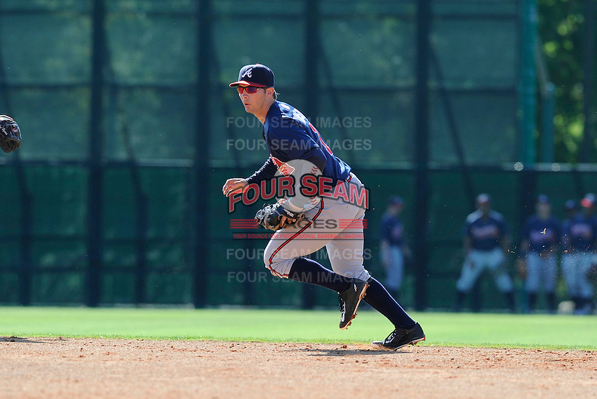 Infielder Ross Wilson (76) of the Atlanta Braves farm system in a Minor League Spring Training workout on Tuesday, March 17, 2015, at the ESPN Wide World of Sports Complex in Lake Buena Vista, Florida. (Tom Priddy/Four Seam Images)