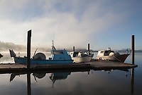 Fishing Boats in the Fog, Astoria Marina, Oregon, USA.