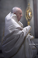 June 14, 2020 - Vatican City (Holy See) - POPE FRANCIS celebrates mass in the fest of the Corpus Domini in St. Peter's Basilica at the Vatican
