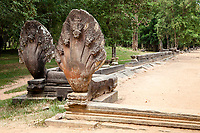 Cambodia, Beng Mealea, 12th. Century.  Nagas (Hindu-Buddhist Serpent Deity), south Causeway.