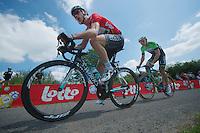 """Tony Martin (DEU/OPQS) with Sep Vanmarcke (BEL/Belkin) in his wheel up le """"Petit Poggio""""<br /> <br /> 2014 Belgium Tour<br /> stage 4: Lacs de l'Eau d'Heure - Lacs de l'Eau d'Heure (178km)"""