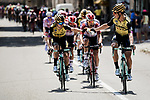 Drinks for Team Jumbo-Visma on the front of the peloton as the temperatures hit 40 degrees during Stage 16 of the 2019 Tour de France running 177km from Nimes to Nimes, France. 23rd July 2019.<br /> Picture: ASO/Pauline Ballet   Cyclefile<br /> All photos usage must carry mandatory copyright credit (© Cyclefile   ASO/Pauline Ballet)